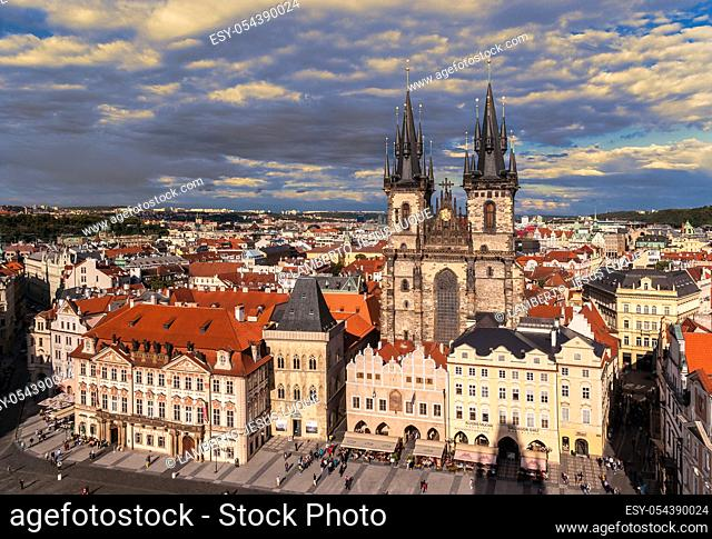 Panorama of the Old Town Square in Prague in the Czech Republic