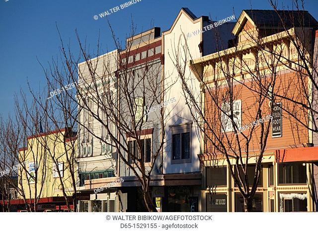 USA, California, Northern California, North Coast, Arcata, buildings along Arcata Plaza