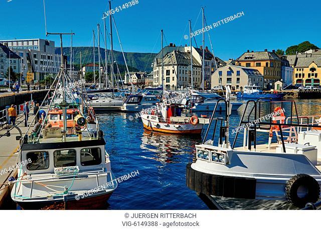 NORWAY, ÅLESUND, 30.06.2018, small fishing vessel in old harbor of Ålesund, Norway, Europe - Ålesund, Møre og Romsdal, Norway, 30/06/2018