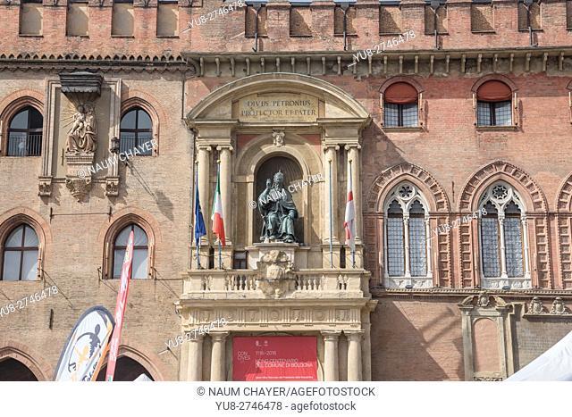Detail of City Hall , Piazza Maggiore square, Bologna, Italy, Europe