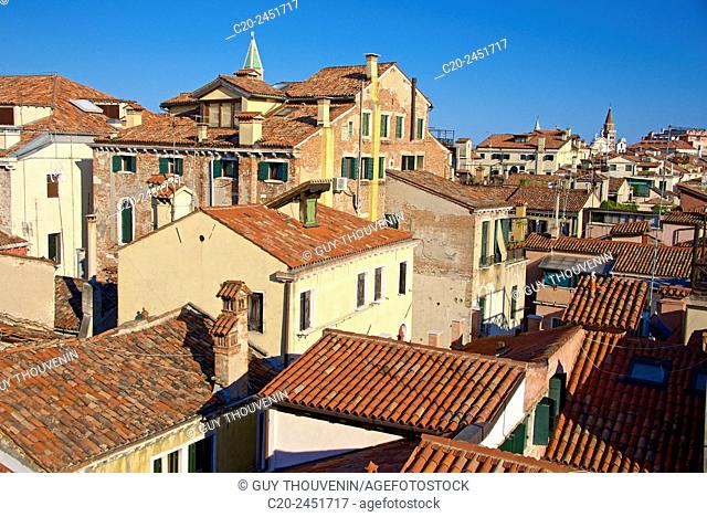 Roofs and chimneys , San Marco Campanile in the background, Venice, Venetia, Italy