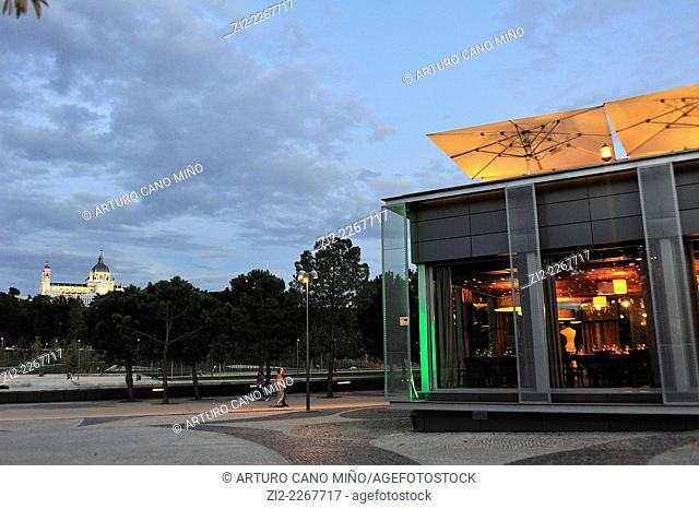Sunset at Madrid Rio Park. Madrid, Spain