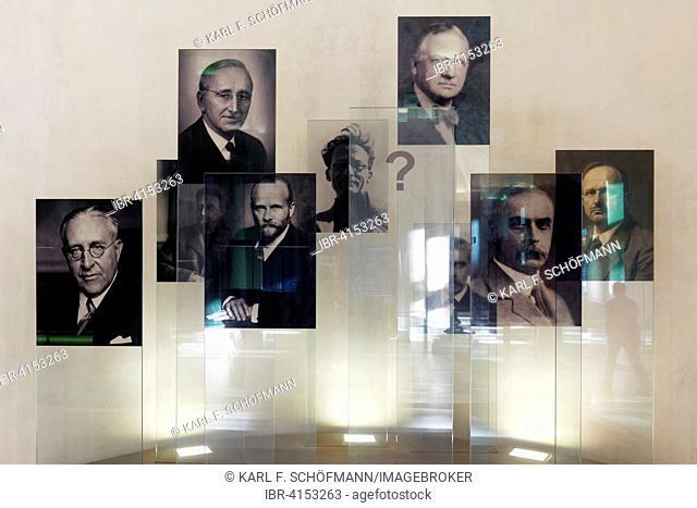 Portraits of Nobel laureates of the University of Vienna, Konrad Lorenz, Erwin Schrödinger, Karl Landsteiner and others, Ringstraße, Vienna, Austria