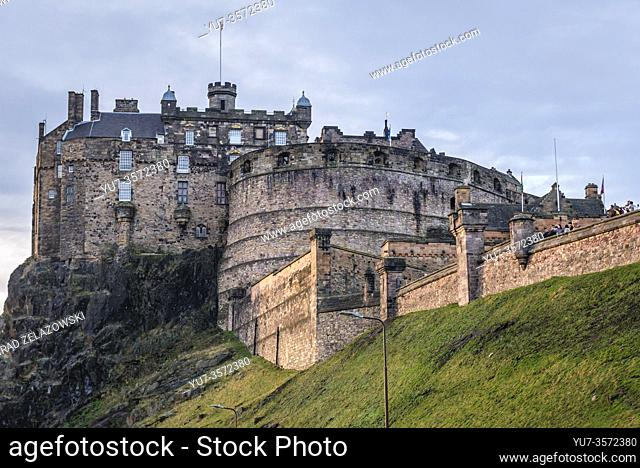 Edinburgh Castle in Edinburgh, the capital of Scotland, part of United Kingdom, view from Grannys Green Steps
