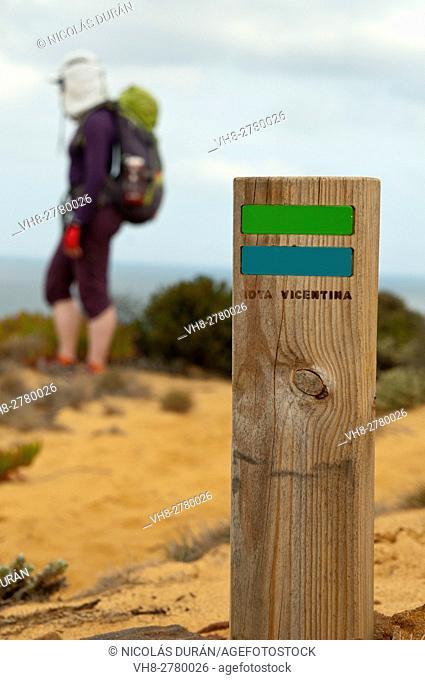 Sign post in Vicentina Coast Trekking. Parque Natural do SW Alentejano e Costa Vicentina, Algarve, Portugal