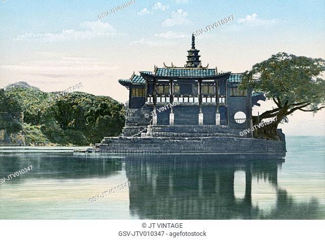 Island Temple of Jinshan, Min River, Fuzhou, China, Hand-Colored Lantern Slide by John Thomson, Newton & Company, 1870