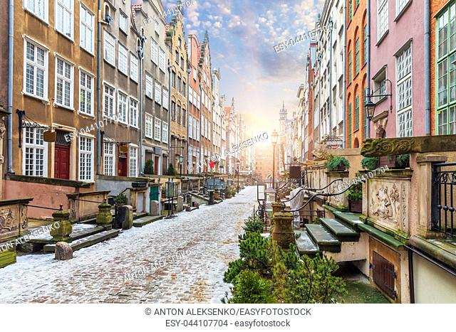 Mariacka street, a famous street in Gdansk in Poland, sunrise view