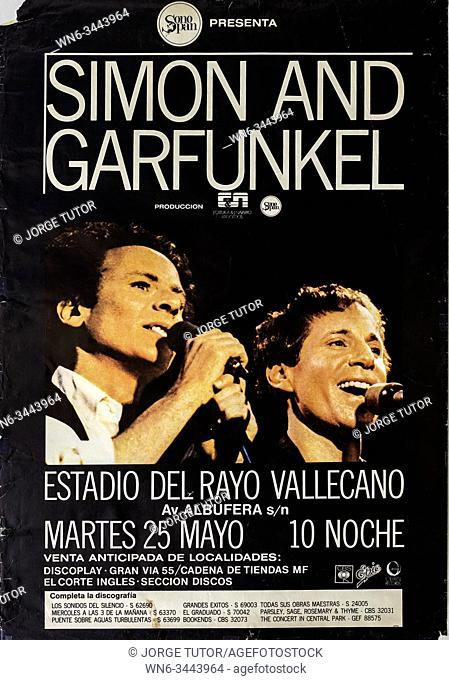Simon and Garfunkel, Madrid Rayo Vallecano 1982 tour, Musical concert poster