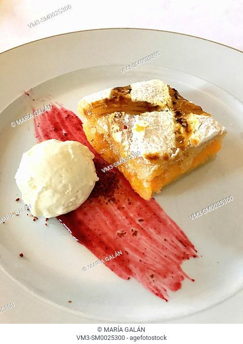 Ponche segoviano with ice cream and raspberry syrup. Segovia, Spain