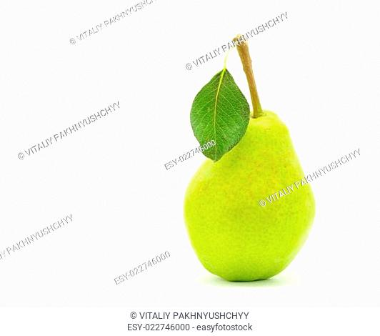 green pear with leaf