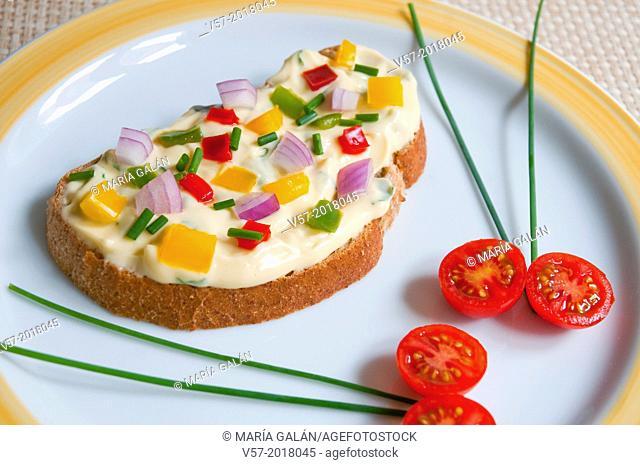 Vegetarian tapa. Close view