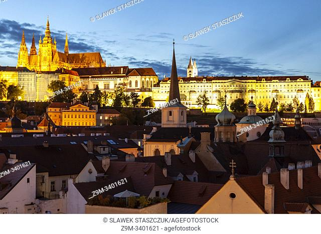 Night falls in Mala Strana, Prague, Czechia. Hradcany in the distance