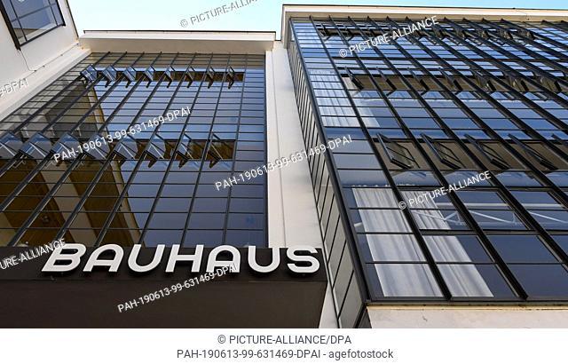 13 June 2019, Saxony-Anhalt, Dessau-Roßlau: View of the entrance to the Bauhaus in Dessau. On a so-called Bauhaus explorer tour