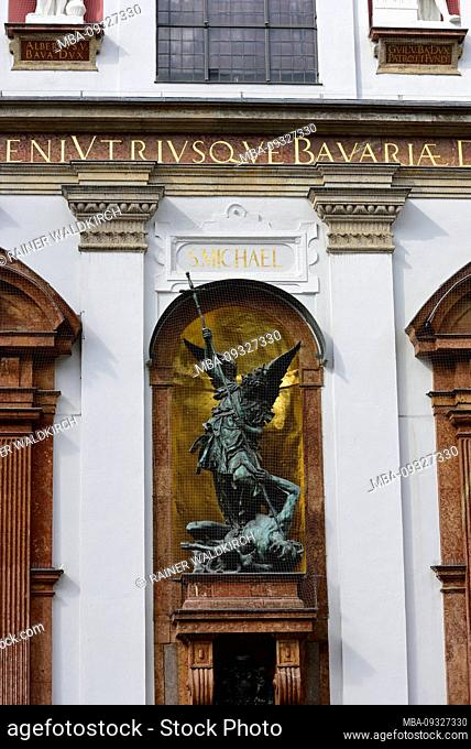 Europe, Germany, Bavaria, City of Munich, Neuhauser Strasse, St. Michael's Church, St. Michael's Statue