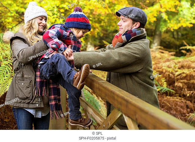 Family in woods in Autumn