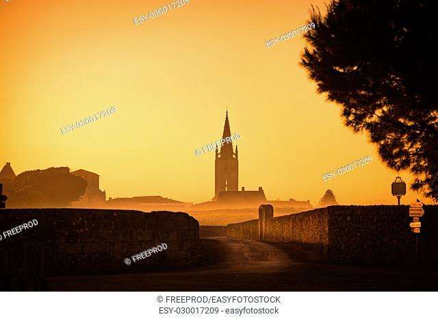 Saint Emilion Sunrise, Bordeaux Vineyard, France, Europe