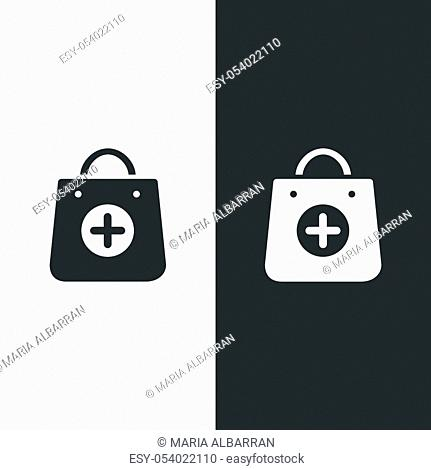 Shopping pharmacy bag icon. Isolated image. Flat vector illustration