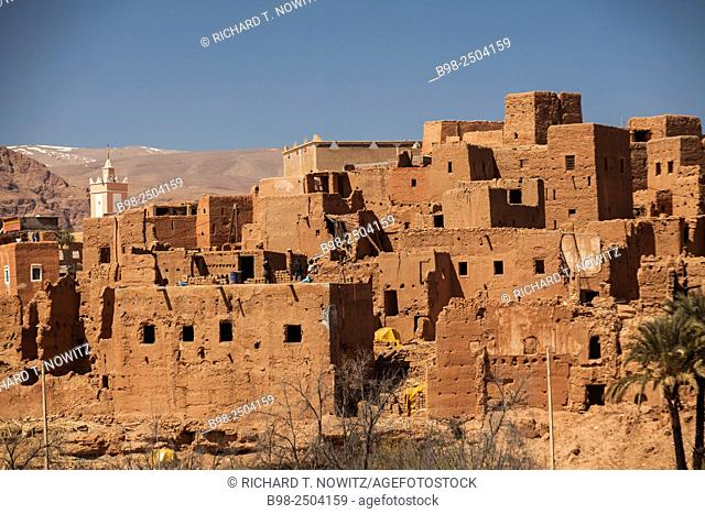 Morocco, Meknes-Tafilalet, Tinejdad, Traditional desert architecture