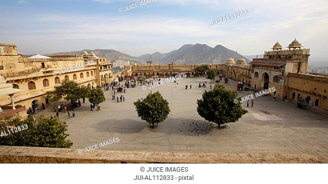 Inner Courtyard of Amber Palace and Fort, Amber, Jaipur, Rajasthan, India, South Asia
