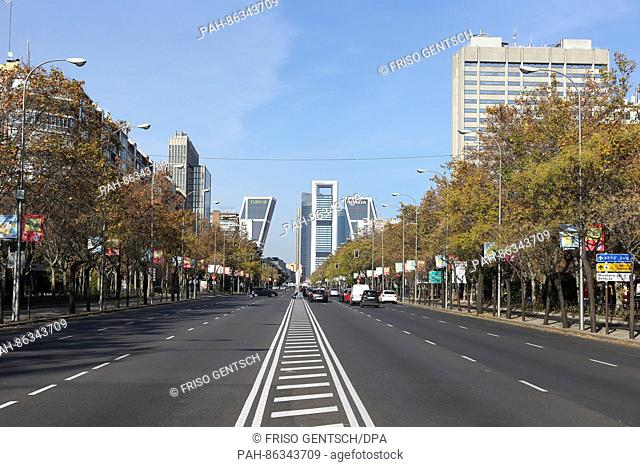 A view of the Paseo de la Castellana and modern residential apartment blocks on the Plaza de la Castilla in the background in Madrid, Spain, 08 December 2016