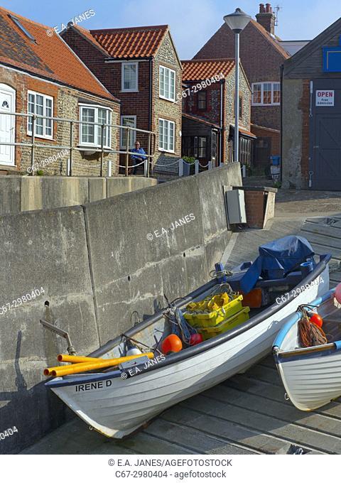 Crab fishermenlanding boat at Sherringham Norfolk