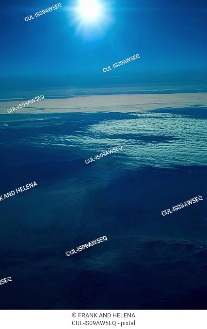 Aerial view of mountain and clouds, Mongolia