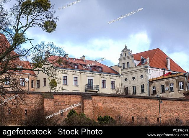 Medieval walls of Old Town of Torun, Kuyavian Pomeranian Voivodeship of Poland, view with Dambski Palace baroque residence