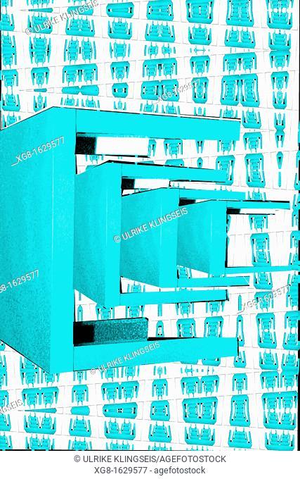 four blue tables
