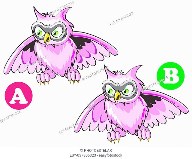 Game for children's: find the 7 differences between these two owls