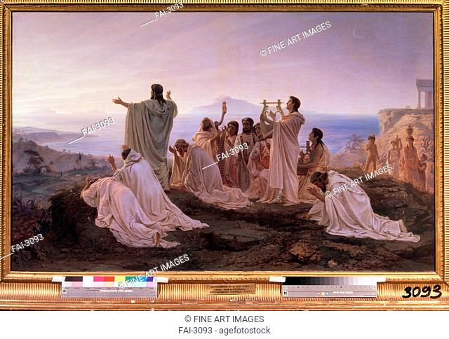 Pythagoreans' Hymn to the Rising Sun. Bronnikov, Feodor Andreyevich (1827-1902). Oil on canvas. Russian Painting of 19th cen. . 1869