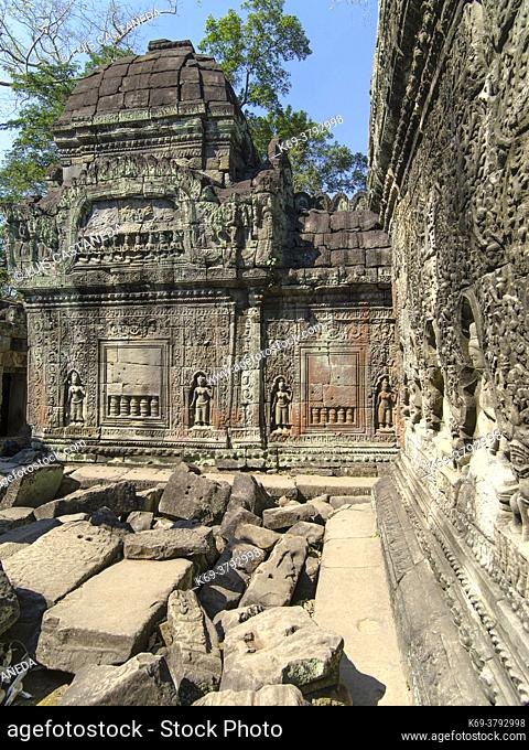 Preah Khan, sometimes transliterated as Prah Khan, is a temple at Angkor, Cambodia, built in the 12th century for King Jayavarman VII