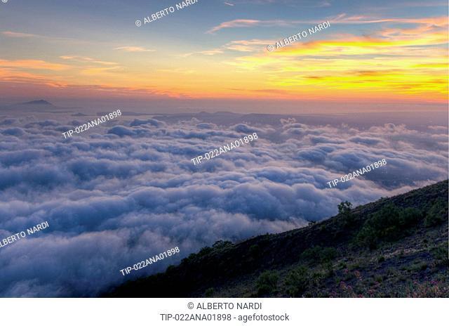 Italy, Campania, Vesuvius National Park, From Mt, Vesuvius: Gulf of Naples (sunset), Naples, Poillipo Cape, Nisida Islet, Ischia Island