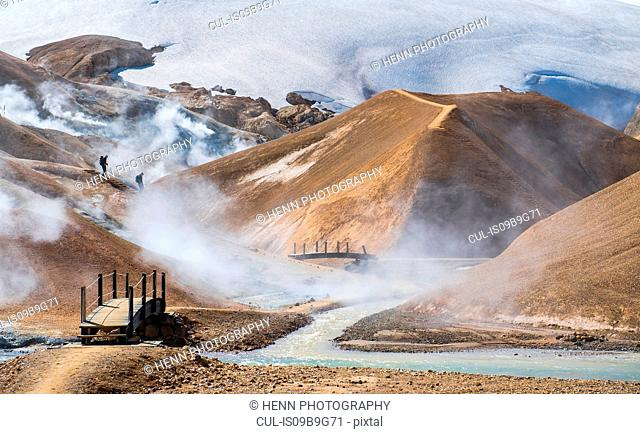 Landscape at the geothermal active valley, Kerlingafjoll, Iceland