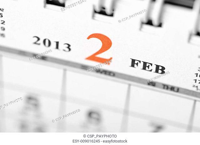 February of 2013 calendar