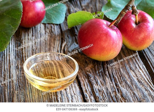 A bowl of apple cider vinegar with fresh fruit