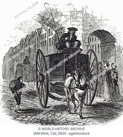 An engraving depicting a cabriolet. By 1890 the vehicle was seldom seen and, for the most part, had been supplanted by the dog cart