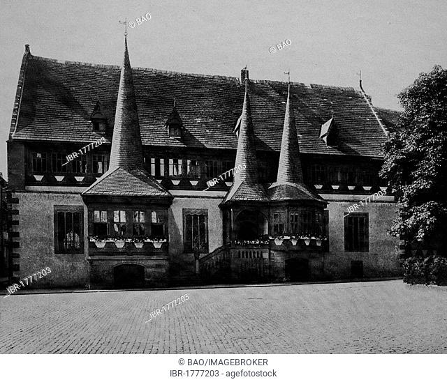 City hall of Einbeck, Lower Saxony, Germany, Europe, historical photo about 1899