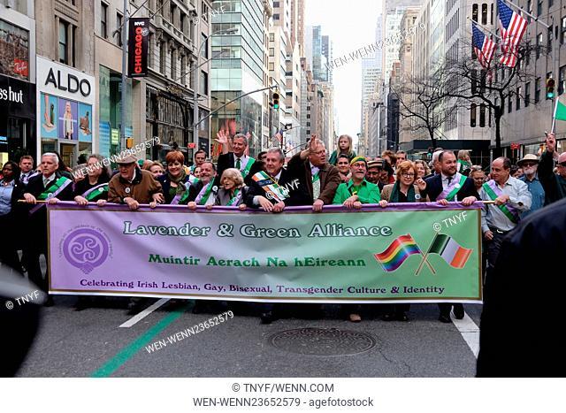 Mayor Deblasio marches in St Patricks parade Featuring: Atmosphere, Mayor DeBlasio, Cardinal Dolan, Govenor Cuomo Where: Manhattan, New York