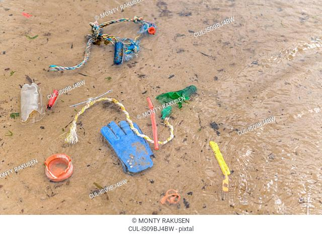 Plastic pollution in shallow sea water, North East England, UK