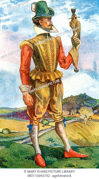 His doublet is stiff but his breeches are loose ; his collar is plain but he wears ribbons at his knees. Lace cuffs add an extra touch of luxury.