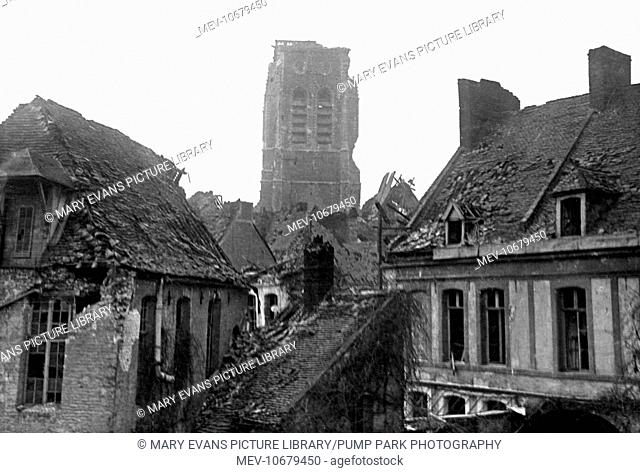 View of the church tower and other damaged buildings at Bethune on the Western Front in France during World War One