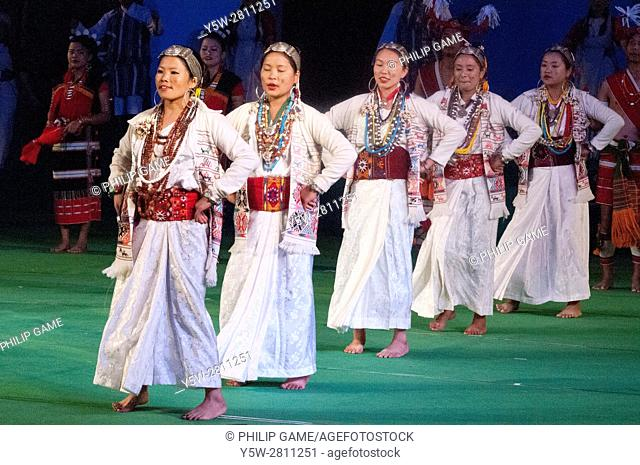 Arunachal Pradesh dancers performing the Bugan dance in 'Colours of NE India' at the Sangai Festival, Imphal, India