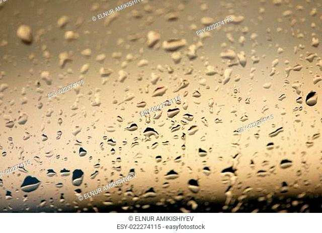 Water drops on the glass - shallow DOF