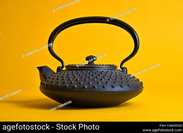 A small original Iwachu cast iron teapot from Japan with the so-called, hail pattern (Arare), here in smaller size (Chu-Arare)