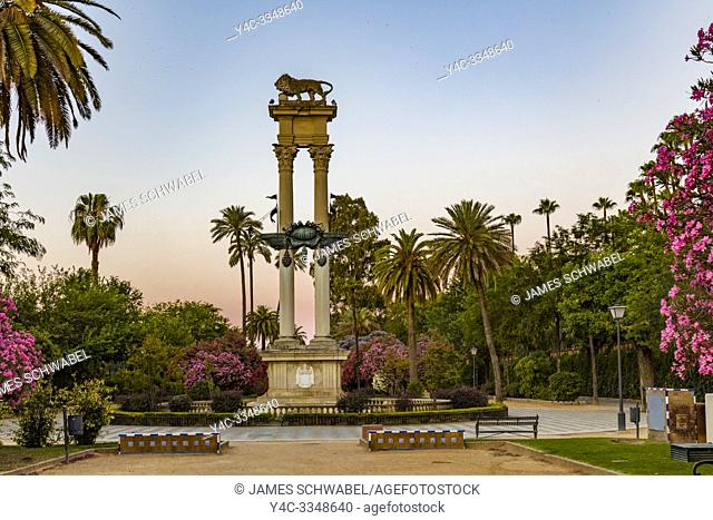 Christopher Columbus Monument in the Jardines de Murillo gardens in Seville, Andalusia, Spain, Europe