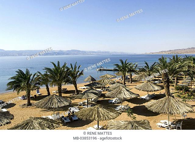 Jordan, Aqaba, beach-opinion, Near east, red sea, coast, destination, tourism, hotel-beach, beach, sandy beach, palms, deck chairs, parasols, vacationers