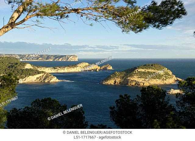 Coastline of North Alicante, Portixol island and Nao cape, Jave, Alicante, Spain