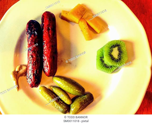 Odd assortment of food on a plate