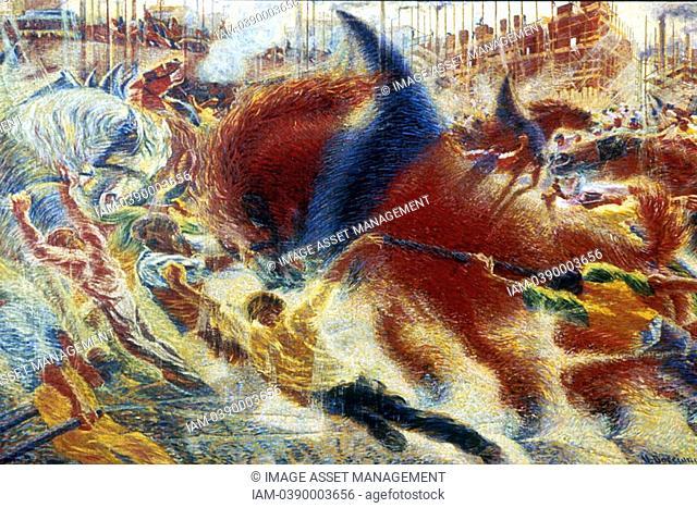 Umberto BOCCIONI 1910 The city Rises  L'eveil de la cite  Museum of Modern Art, New York