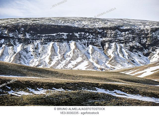 Beautiful slope in Fjaðrárgljúfur (region of Suðurland, Iceland)